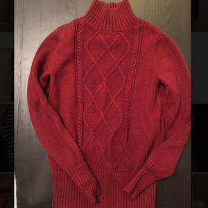 Burgundy Mockneck Cable Knit J Crew Sweater